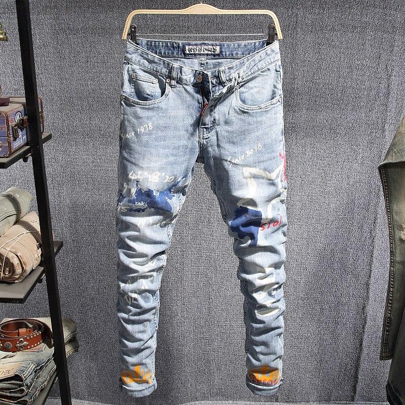 Европейские американские уличные модные мужские джинсы в стиле ретро светло-голубые зауженные джинсы с принтом Мужские повседневные дизай...