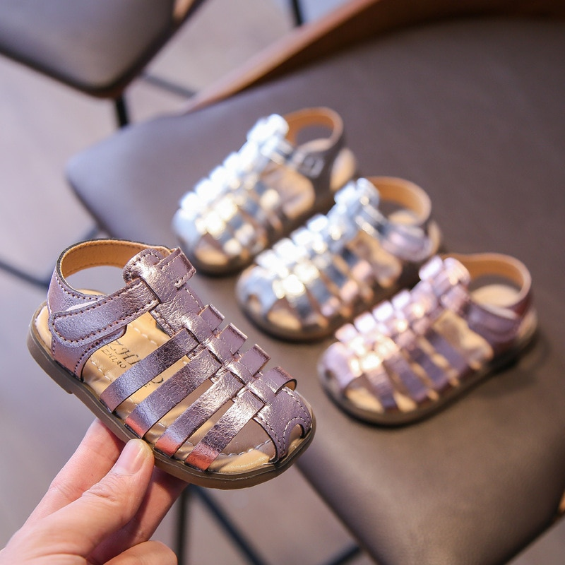 Baby Kids Fashion Roman Shoes Children Girls Summer Casual Sandals Shoes Pink Silver Leather Beach Gladiatoer Sandals Boy E04141