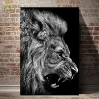 black white cool lion wall art paintings pop art picture canvas prints and posters wall art pictures for living room