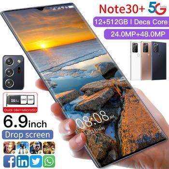 2021 SUMSANG Note30+ 5G Global Version Smartphone 48 MP Camera 6.9 Inch HD Screen MTK6889+ Deca Core 6000mAh 12G 512G Cellphone