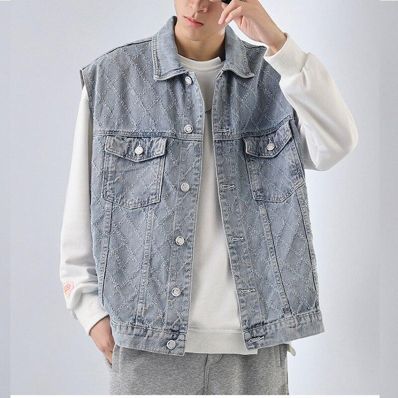 Джинсовый жилет, Мужская джинсовая жилетка, мужская куртка из хлопка, Мужская жилетка, Мужская джинсовая куртка, мужской жилет без рукавов