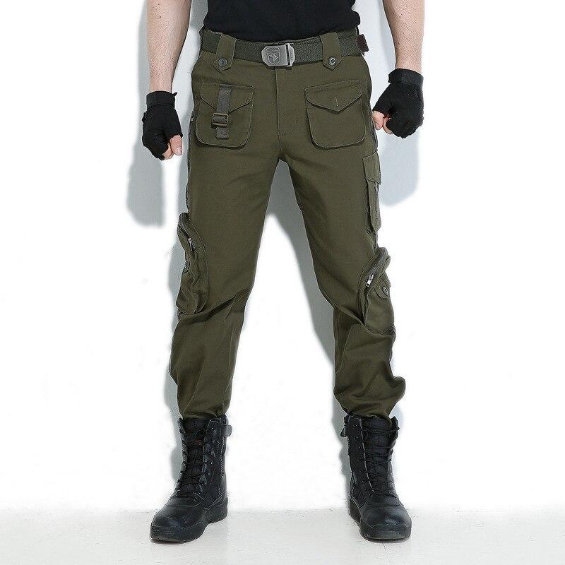 Calças ao ar Caminhadas com Ferramentas Outono Inverno Escalada Wear-resistant Solto Tamanho Grande Livre Casuais Multi-bolso Militar Ventilador Calças