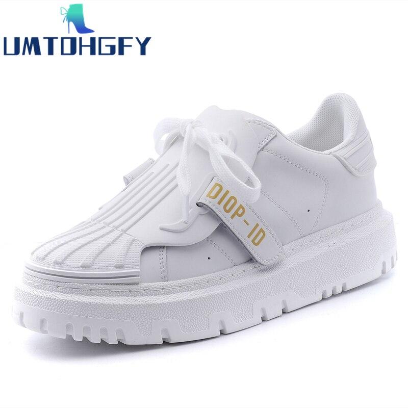 ربيع الخريف أحذية نسائية جديدة ريترو الأبيض الكاكي أحذية مفلكنة أحذية رياضية الكورية الإناث المد البرية سميكة سوليد حذاء كاجوال