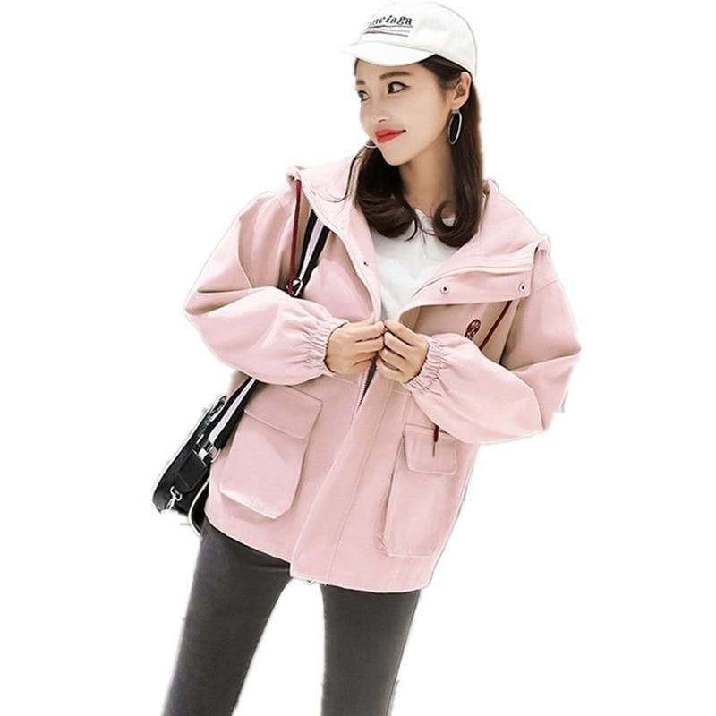 Women's Trench Coat Early Autumn New Women's Korean Version Hooded Overalls Student Baggy Coat