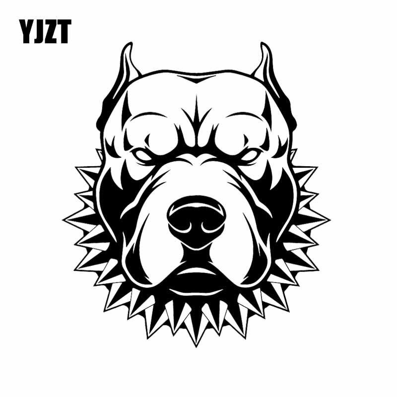 YJZT 14,7X16,7 см креативная виниловая наклейка американский стаффордширский терьер злая собака наклейки на автомобиль черный/серебристый C24-1258
