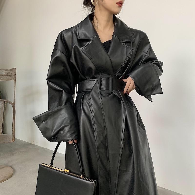 Длинная кожаная юбка оверсайз Lautaro с длинным рукавом и отворотом свободного кроя Осенняя Стильная черная женская одежда уличная одежда