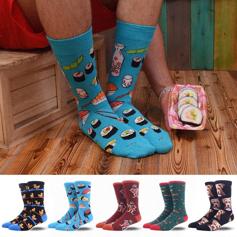 Mens Happy Crew Socks Cartoon Sushi Duck Skate Funny Personality Harajuku Hip Hop Street Fashion Male Socks