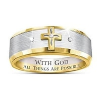 mens and womens religious wedding ring cross edge polished and polished finish comfortable fit personal jewelry
