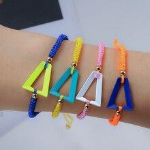 Hot Sale Fashion Adjustable Neon Rainbow Triangle Bracelet For Women Men 2021 Trend Chlidren's Brace