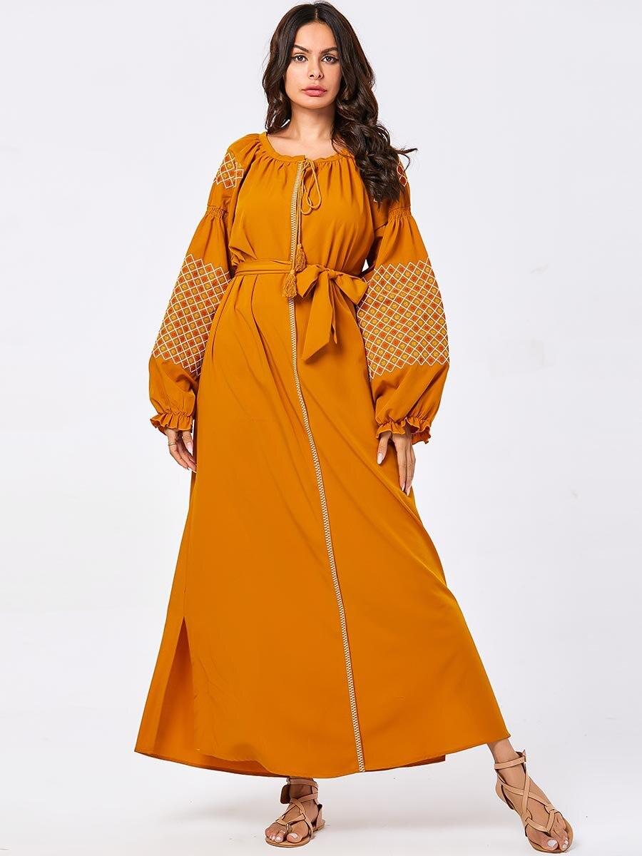 Moda mujer musulmán Maxi vestido Kaftan Abaya Dubai bordado Jilbab árabe Robe...