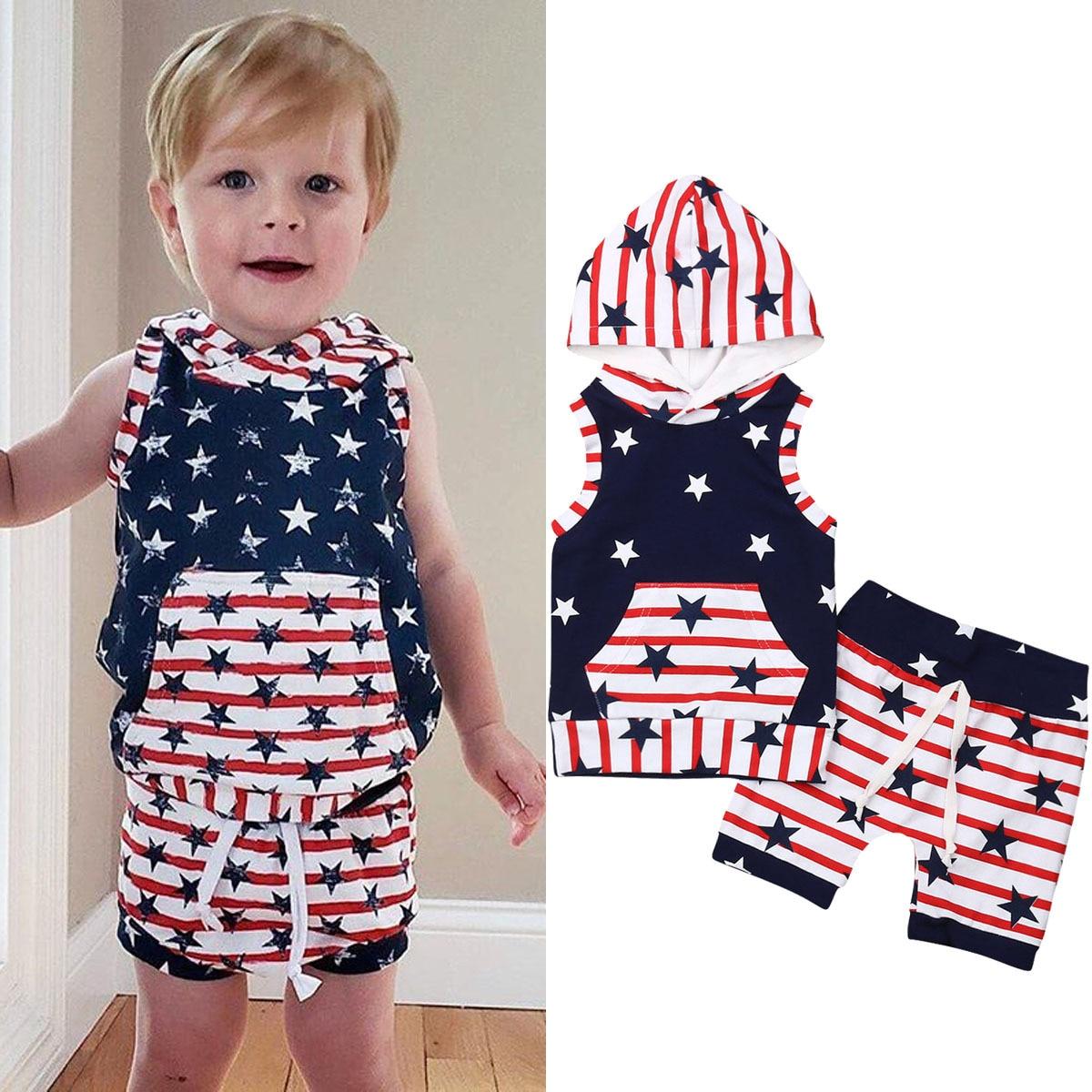 Meninos da criança roupas de verão crianças meninos 4th de julho outfits red strip estrela com capuz topo shorts 2 pçs conjunto roupas traje patriótico