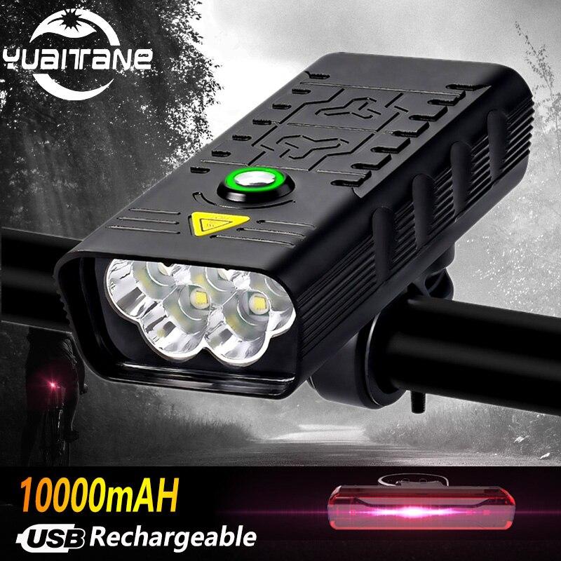 10000mah 5leds luz da bicicleta recarregável usb t6 9000lm bicicleta luz lanterna ao ar livre mtb ciclismo bicicleta accessaries como banco de potência