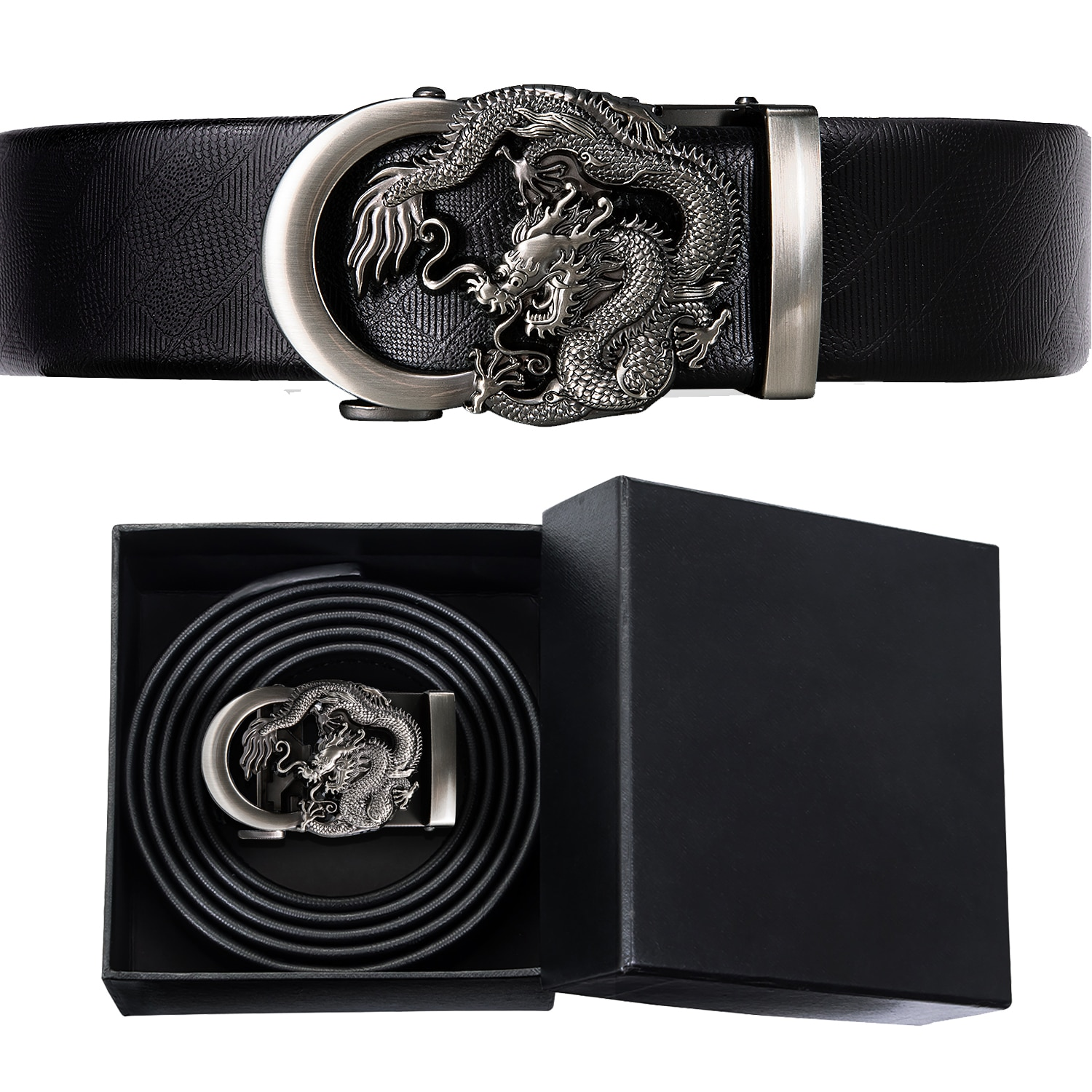Hi-Tie Famous Brand Leather Belt Men 2020 New Male Metal Dragon Buckle Belts and Box for Men Gift Luxury Leather Jeans Straps
