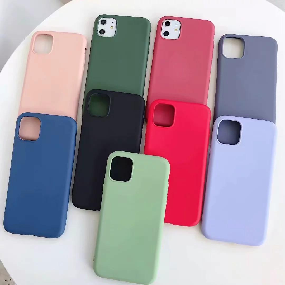 Capa de silicone para iphone 6 6 s 7 8 plus caso de telefone tpu macio da cor dos doces para o iphone xs 11 pro max xr xs max x plain