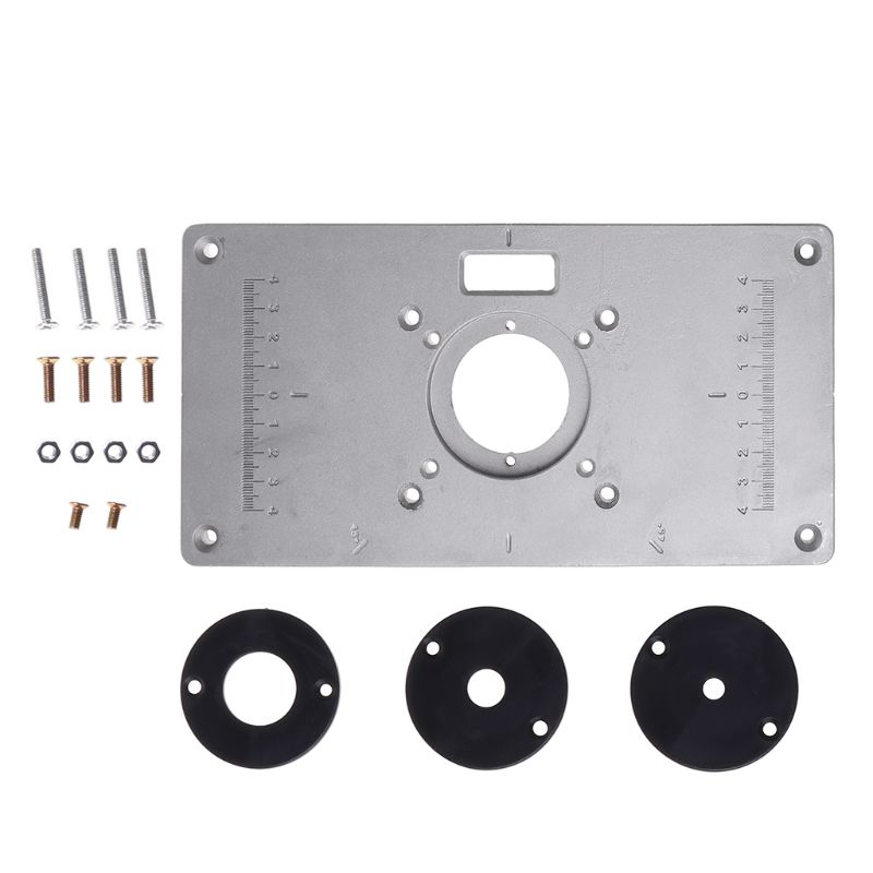 700C Aluminum Router Table Insert Plate + 4 Rings Screws For Woodworking Benches enlarge