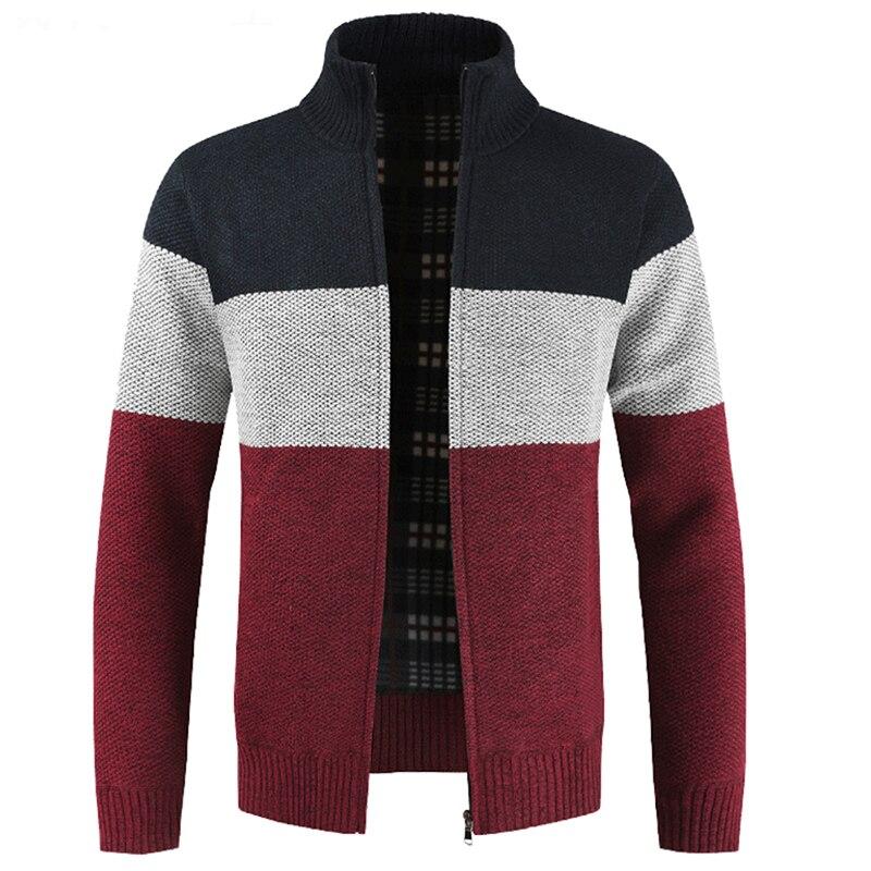 Мужские свитера, кардиганы, пальто, теплые кашемировые свитера на молнии из искусственной шерсти, повседневная трикотажная одежда, свитера ...