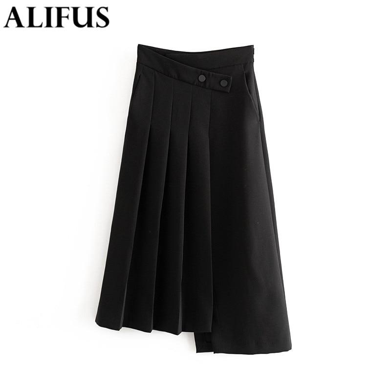 Moda Za faldas para mujer Color sólido 2020 falda informal de primavera botón cremallera cintura alta asimetría femenina