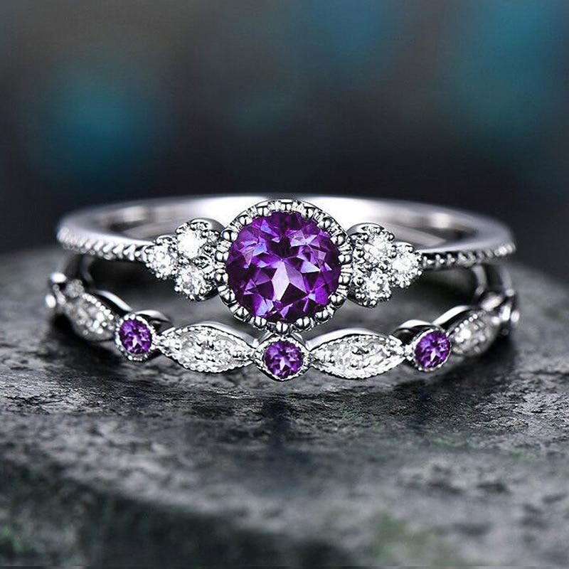 Conjunto de anillos de circonio cúbico púrpura USTAR para mujer, joyería a la moda, anillos de compromiso de color plateado, accesorios para mujer, 2 unids/set