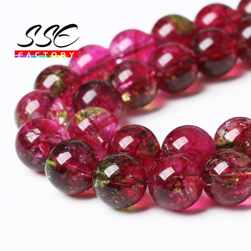 AliExpress - Natural Stone Red Crystal Quartz Round Loose Beads Crackle Beads 6 8 10 12MM Pick Size 15″Strand For Jewelry Making DIY Bracelet
