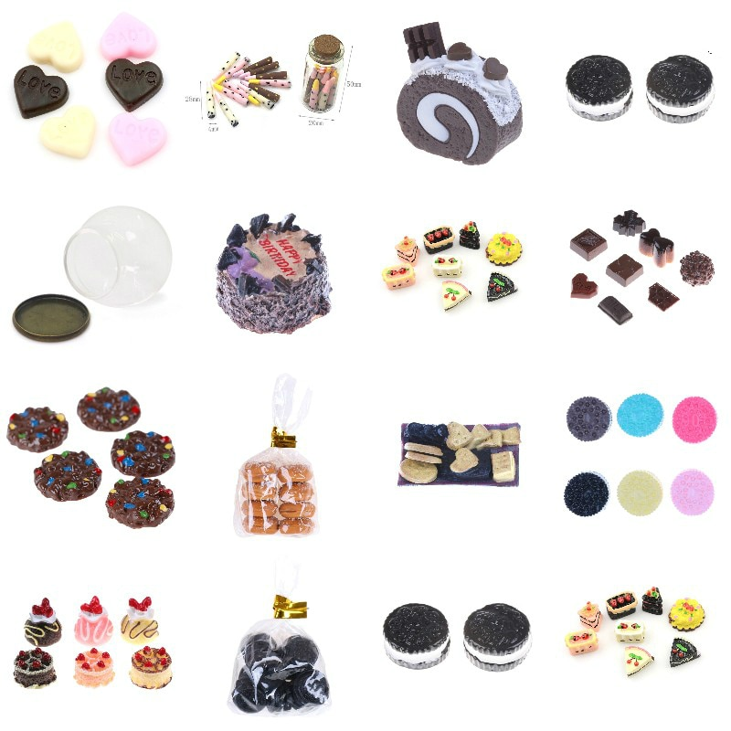 Cute Mini Candy Donut Doll Food Pretend Play Dollhouse Accessories Miniature Home Craft Decor Cake Kids Kitchen Toys