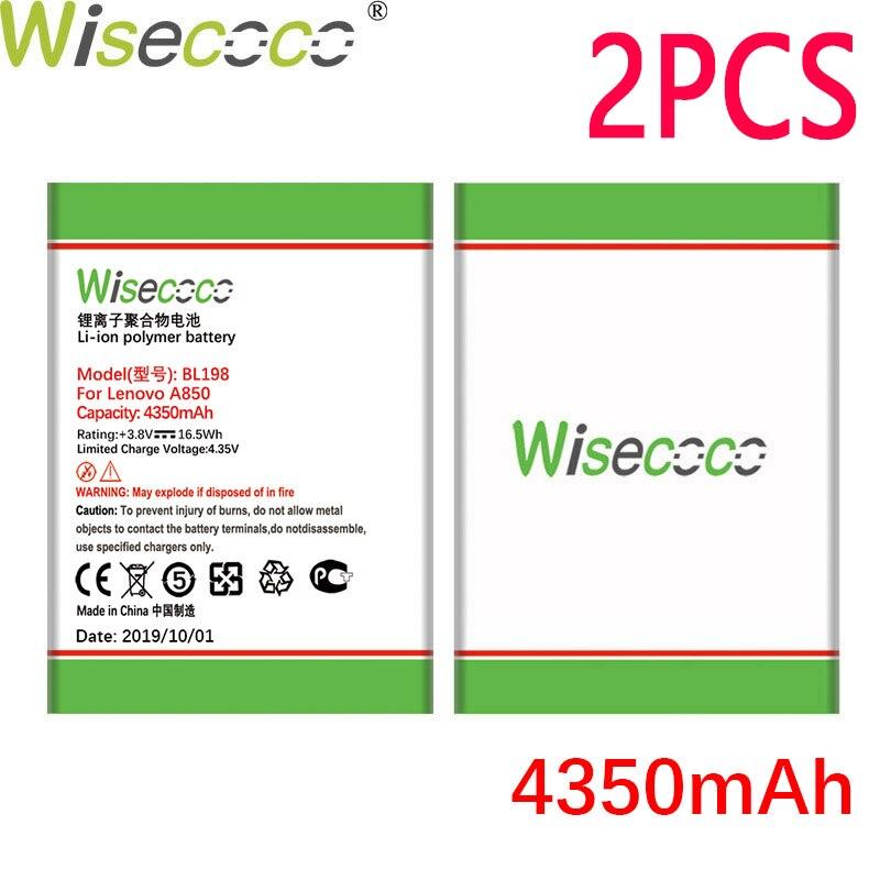 WISECOCO 2 uds 4350mAh BL198 batería para Lenovo A860E A859 S890 A850 A830 S880 K860 K860i A678t teléfono móvil con número de seguimiento
