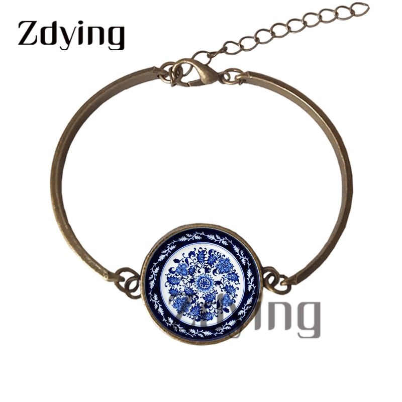 Zdying Flores Retro brazalete de porcelana azul y blanco imagen artística de cristal cabujón encanto brazaletes joyería mujer niñas regalo QH053