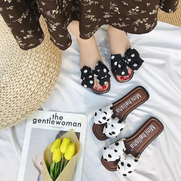Charm shark flat bow slippers women summer fashion summer flip flops daily wear polka dot beach sandals women