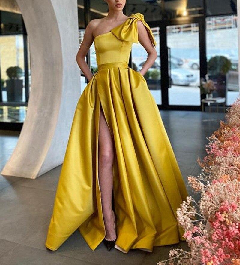 A-Line Evening Dress Long With Pockets 2021 Vestidos De Fiesta Side Split Elegant One Shoulder Pageant Gowns Robe De Soiree burgundy side pockets one shoulder mini dress