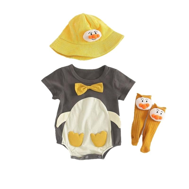 Mooie Animal Baby Kleding Baby Boy Meisjes Romper Hoed Sok Set Grey Penguin Katoen Kostuum Roupa Bebe Lichamen Korte Rompers