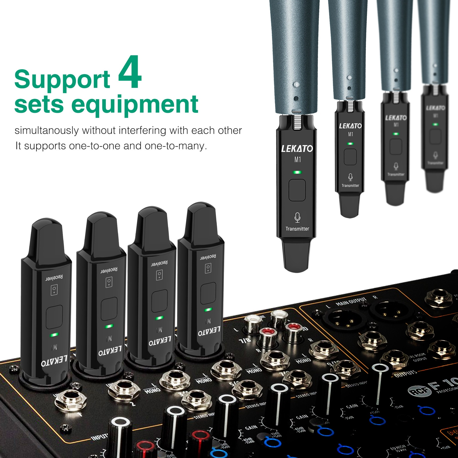 LEKATO M1 Guitar Wireless Receiver Microphone Wireless System 2.4GHz Rechargeable Wireless Transmitter Receiver Microphone enlarge