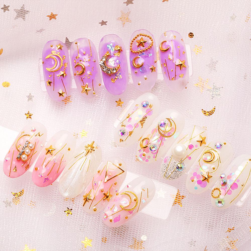 Купить с кэшбэком 1Box Nail Art Gold Star Moon Mix 3D Rivet Rhinestones Beads AB Sequins Shiny Glitter Charm Gems Manicure Decorations JS01-14