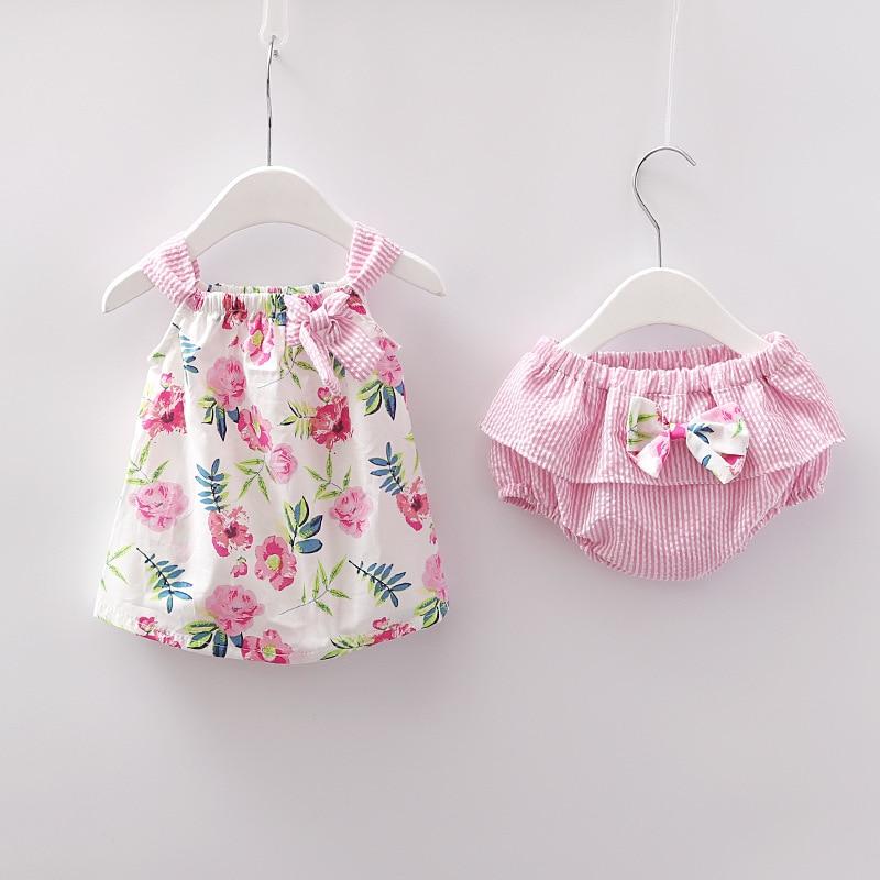 Nueva ropa para niñas recién nacidas, vestido sin mangas + bragas, conjunto de 2 uds, lindos conjuntos de prendas de vestir con estampado de rayas, traje de verano 0-24M