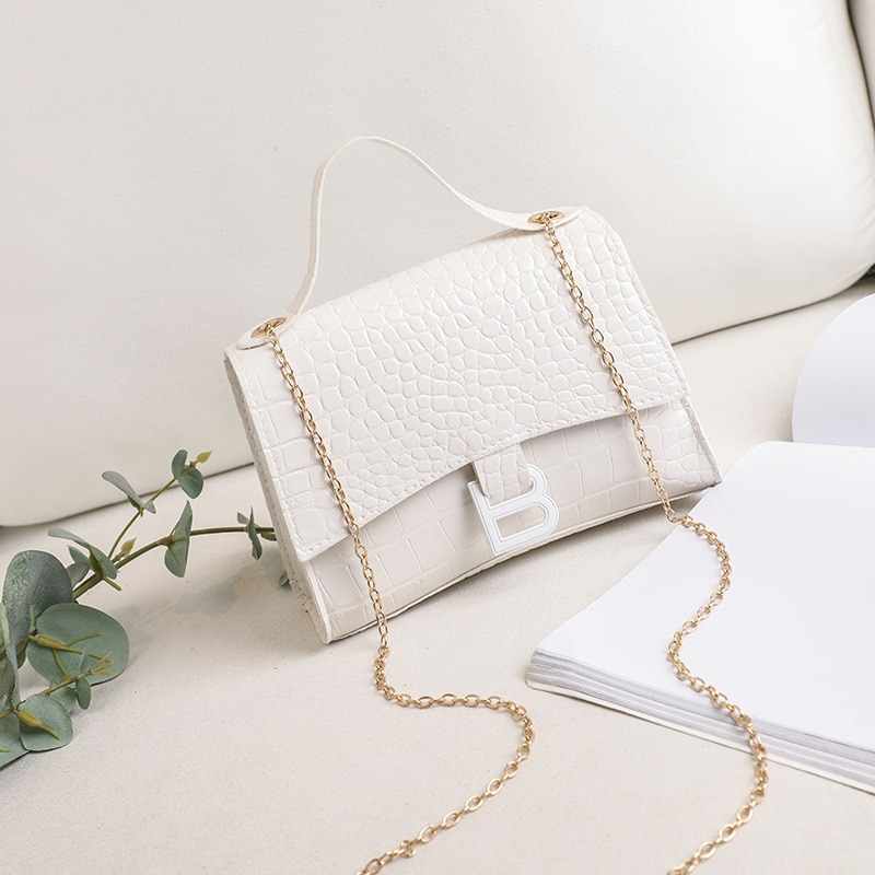 Bags for Women 2020 Fashion Crocodile Pattern Shoulder Bag PU Solid Color Small Square Bag Mobile Phone Coin Purse