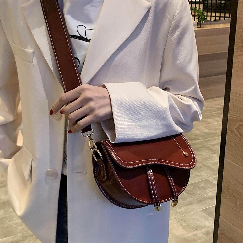 2020 جديد السرج الرجعية السرج حقيبة كروسبيت المحمولة حقيبة كتف جلدية المرأة حقيبة حقيبة ترفيه أسود