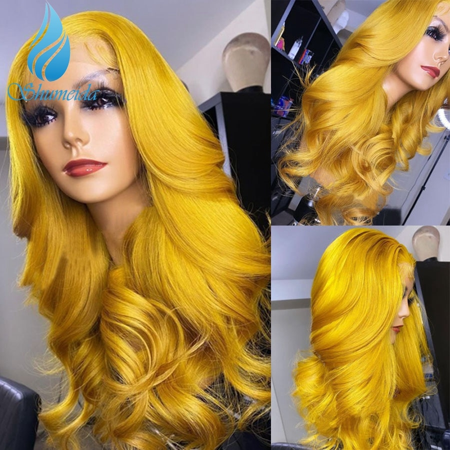 Shumeida Yellow Color 13*6*1 Lace Front Human Wigs Brazilian Remy Hair Wig Body Wave With Baby Hair For Black Women Preplucked