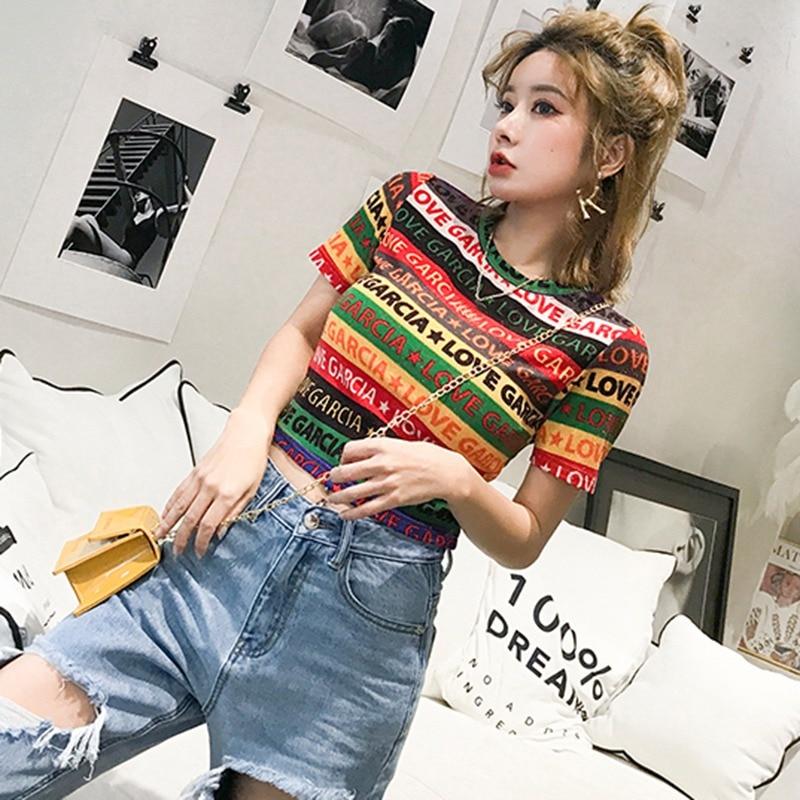 Verano para mujer Camiseta de punto Casual cuello redondo rayas señoras letra impresión manga corta estiramiento camiseta femenina Camiseta corta