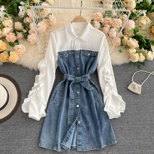 autumn of 2020 the new female design feeling small bump to the black fungus and long sleeve splicing retro cowboy dress