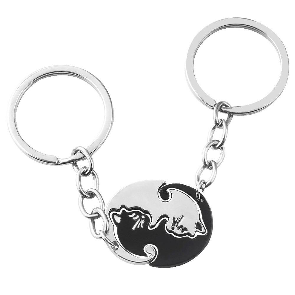 Gato blanco negro pareja llavero lindo Animal empalme colgante gargantilla Collar para Mujeres Hombres pareja joyería regalo