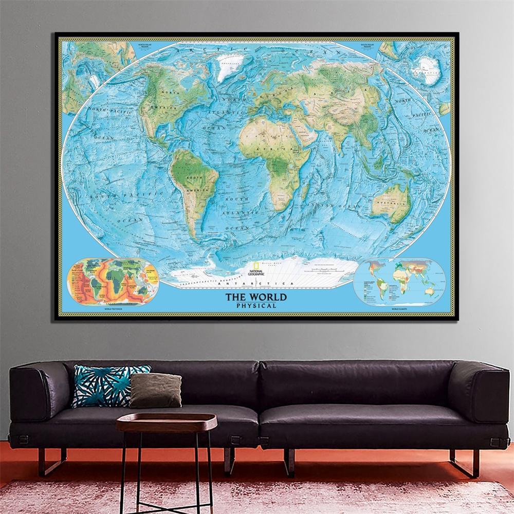 Карта мира с физической тематикой мира, тектоника мира и климата, Карта мира, холст, живопись распылением для украшения стен