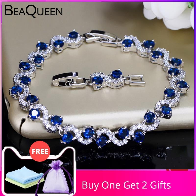 Женские теннисные браслеты BeaQueen, Очаровательные темно-синие браслеты из стерлингового серебра 925 пробы с кубическим цирконием, B016