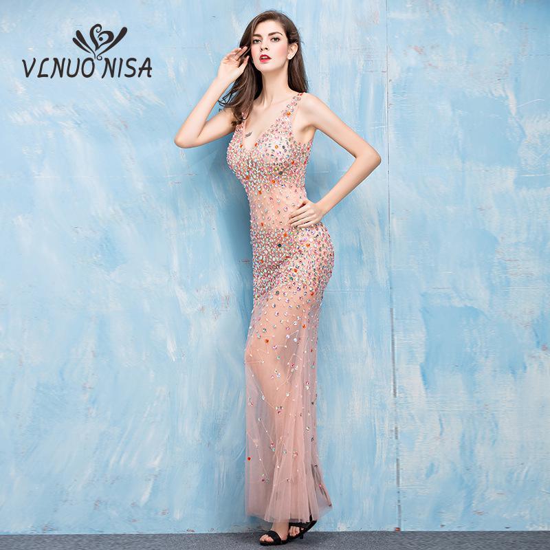 فستان كوكتيل طويل شفاف ، ياقة على شكل v ، دانتيل ، ترتر كريستالي ، مثير ، ملهى ليلي ، عرض تلقائي ، مجموعة 2020