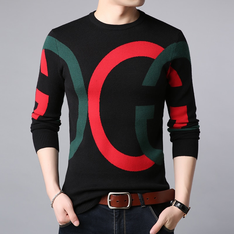 Fashion Korean Style Autumn And Winter Slim Men's Knitted Sweater With Letters