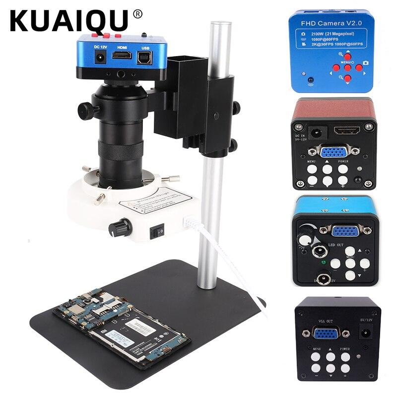KUAIQU مجهر أحادي العين كاميرا رقمية HDMI VGA 38MP 1080P عدسة مع مصباح ليد منضدة حامل إصلاح الهاتف لحام