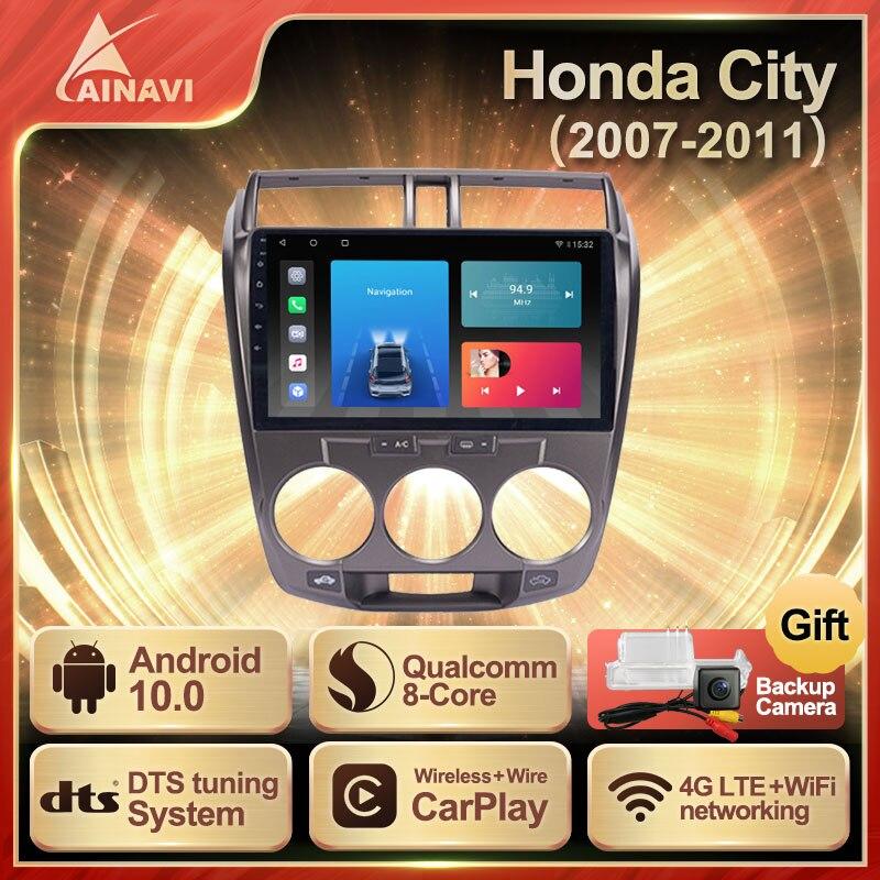 Car Radio Android 10.0 QLED Screen For Honda City 2007-2011 Auto Stereo Multimedia Video Player Navigation Carplay No 2din