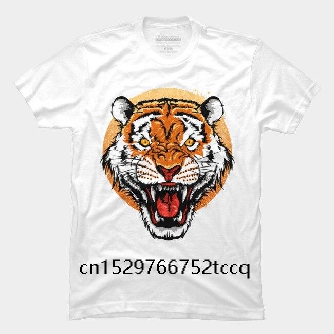 Camiseta a la moda de verano para hombre, camiseta de manga corta con dibujo divertido y gráfico a la moda con cabeza de tigre de Bengala estampada para hombre