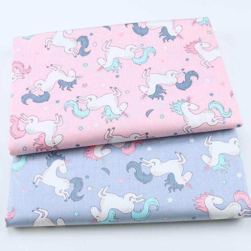 Unicornio 100% tela estampada de algodón para acolchar a los niños tela de Patchwork DIY costura Material DE CUARTOS gruesos para Bebé y Niño