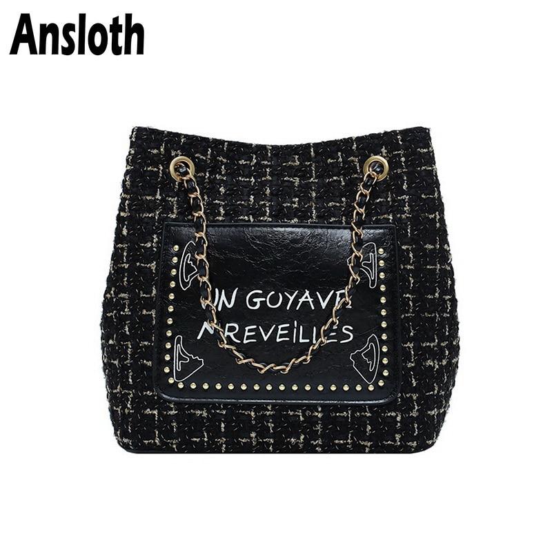 Ansloth Wool Shoulder Bag Women Patchwork Handbag Lady Chain Crossbody Bag Letter Printing Handle Bag Female Winter Bag HPS713