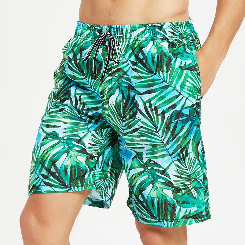Beach Shorts Men Loose Casual Flower Shorts Boxer Swimming Trunks Quick-Dry-Sewer Anti-Awkward Pants