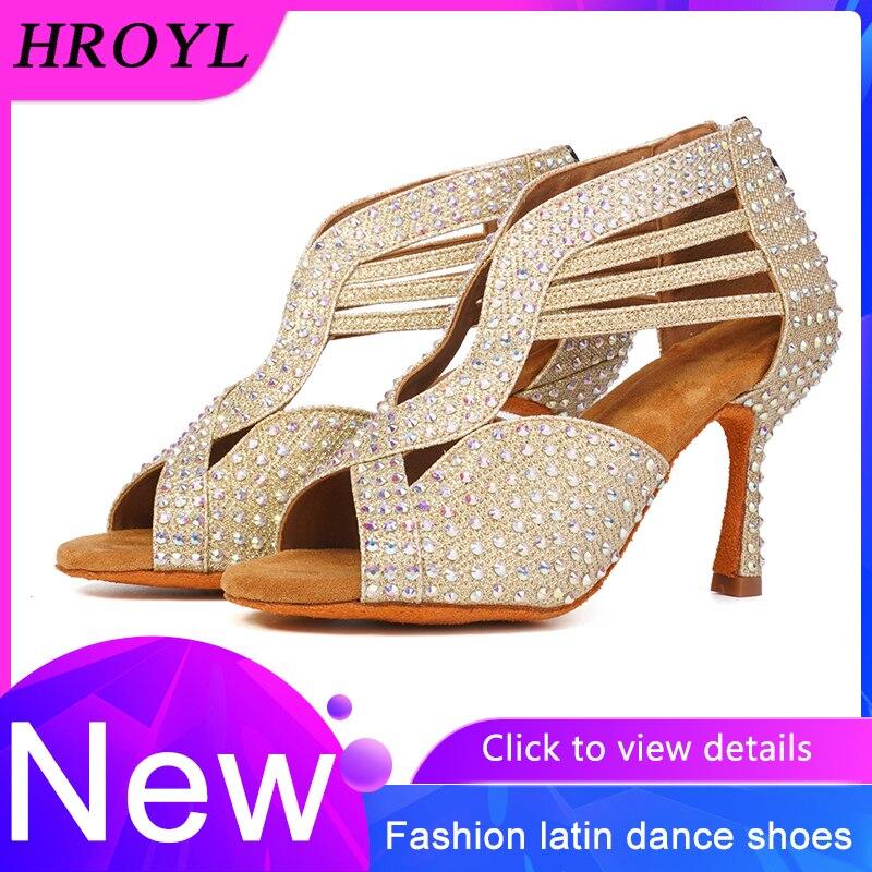 Zapatos de baile latino de marca, zapatos de baile profesionales con diamantes de imitación de tacones altos, pequeño taladro austriaco, Zapatos de Baile de Jazz latino, baile de Salsa