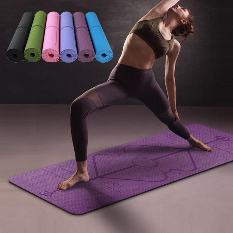 1830*610*6mm TPE Yoga Mat with Position Line Non Slip Carpet Beginner Mat Environmental Fitness Gymnastics Anti-Slip Yoga Mats